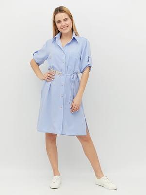 Платье голубого цвета в полоску | 5504921