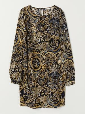 Платье черное в абстрактный принт | 5507133