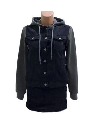 Куртка джинсовая черно-коричневая | 5507336