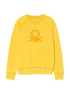 Свитшот желтый с принтом | 5507355