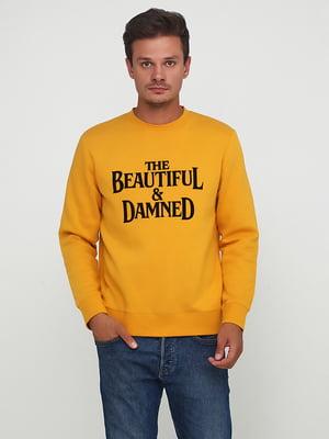 Свитшот желтый с принтом на байке | 5507493