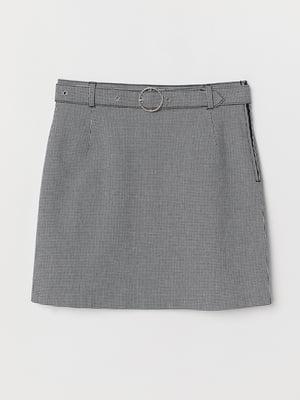 Юбка цвета серый меланж в «гусиную лапку» | 5507498