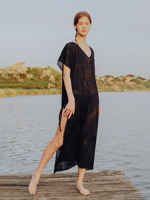 Туника пляжная черная с узором   5508190