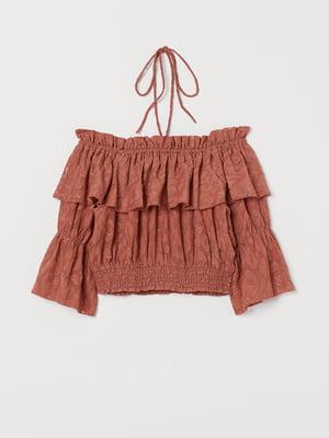 Блуза теракотового кольору у візерунок | 5508909