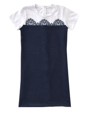 Сукня синя з принтом | 5508971