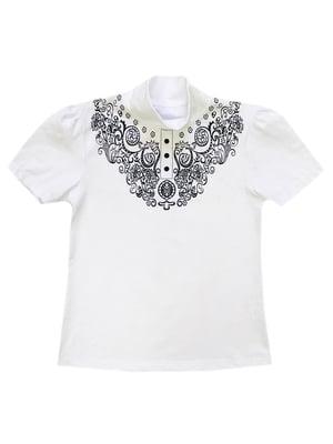 Блуза біла з принтом | 5508977