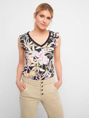 Блуза черная в принт   5508052