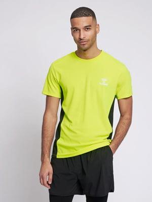 Футболка лимонного цвета с логотипом   5509011