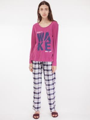 Лонгслив пижамный розовый в принт   5490840