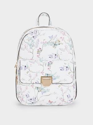 Рюкзак белый с цветочным принтом | 5509234