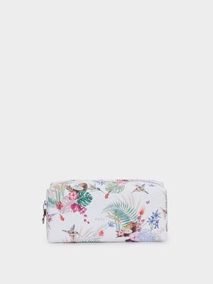 Косметичка біла в квітковий принт | 5442724