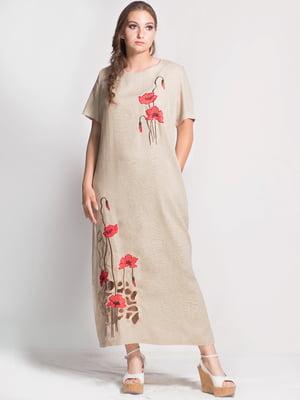 Платье бежевое с цветочной вышивкой | 5509931