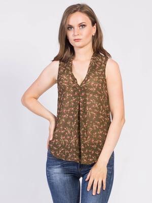 Блуза цвета хаки с цветочным принтом | 5509933