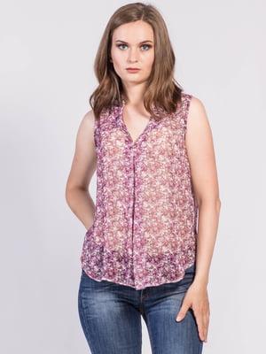 Блуза рожево-бузкова з квітковим принтом | 5509934