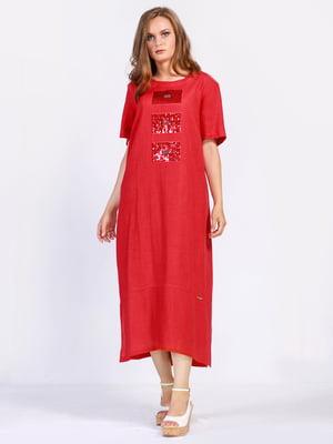 Платье красного цвета с аппликацией | 5509938