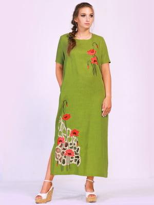 Платье зеленое с цветочной вышивкой | 5509935