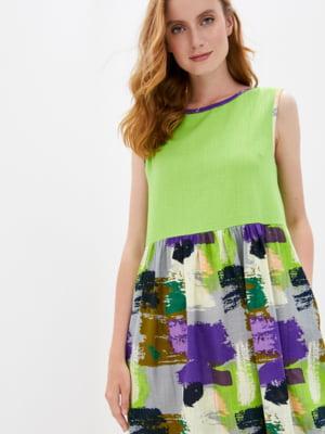 Сукня салатового кольору у принт | 5509962