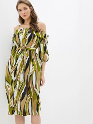 Платье зелено-кофейного цвета в принт | 5509952