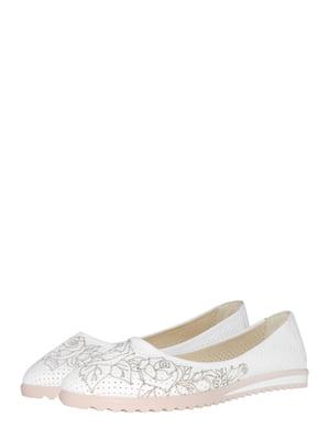 Балетки білі з квітковим принтом   5499198