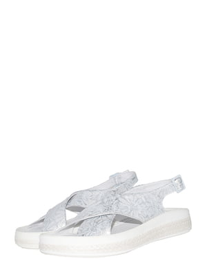 Босоніжки сріблястого кольору з квітковим принтом | 5506944