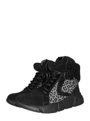 Ботинки черные с анималистическим узором | 5510214