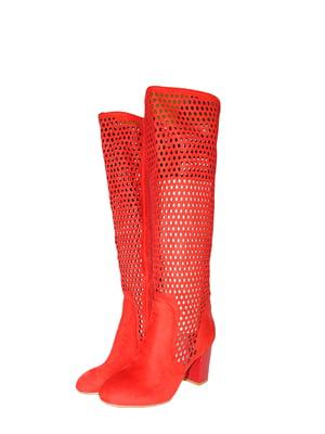 Чоботи червоного кольору з перфорацією | 5510229
