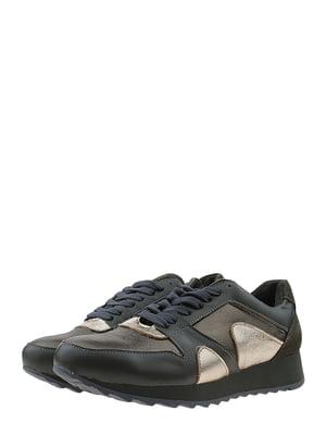 Кросівки кольору хакі з золотистими вставками | 5485601