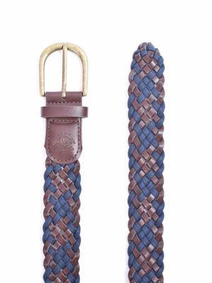 Ремінь синьо-коричневий з візерунком   5510083