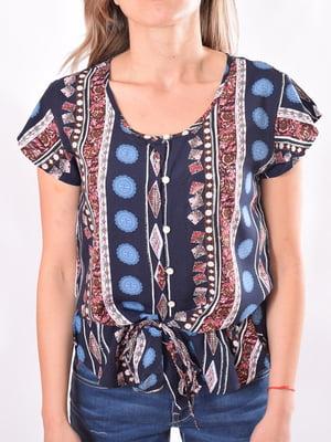 Блуза синяя с принтом   5510117