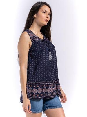 Блуза синяя с принтом   5510123
