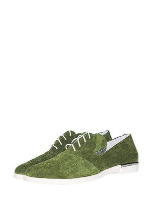Туфлі зеленого кольору з перфорацією | 5499222