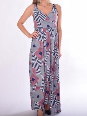Сукня синя в абстрактний принт | 5488774