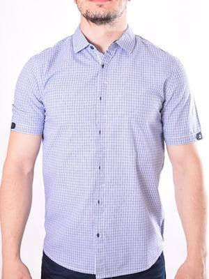 Рубашка светло-синяя в клетку | 5510008