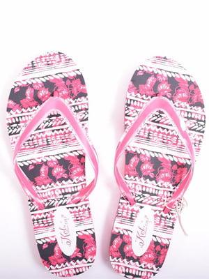 В'єтнамки рожеві з принтом | 5510039