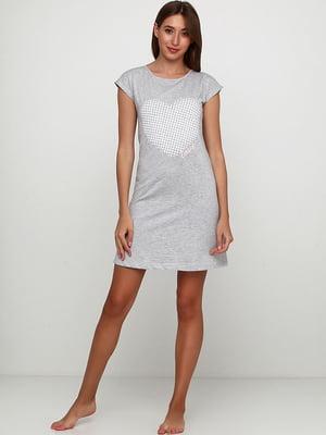 Рубашка ночная цвета серый меланж с принтом | 5487206