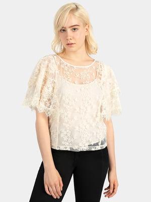 Блуза молочного кольору в принт | 5466201