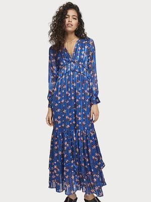 Сукня синя з квітковим принтом | 5384832