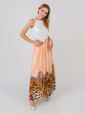 Юбка персикового цвета с принтом | 5500381