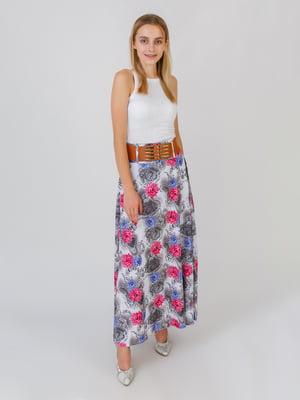 Юбка серо-малинового цвета в цветочный принт | 5500713