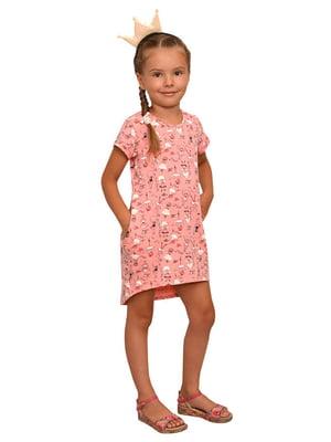 Платье розовое в принт | 5513411