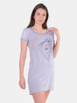 Сорочка нічна сіра в принт   5513784