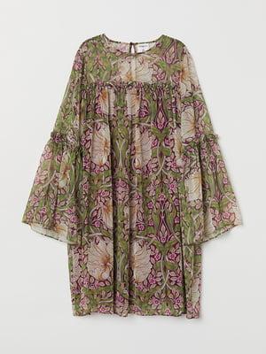 Сукня бордово-зелена в квітковий принт | 5513999