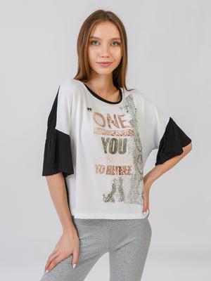 Блуза чорно-біла | 5510854