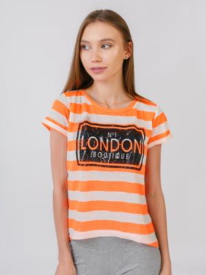 Блуза оранжева у смужку з принтом | 5510874