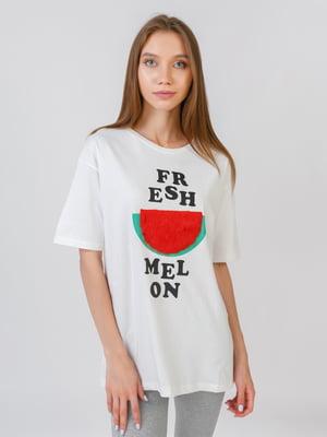 Блуза молочного цвета с принтом | 5510870