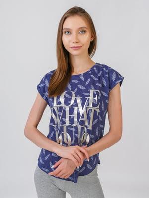 Блуза синяя в принт | 5510860