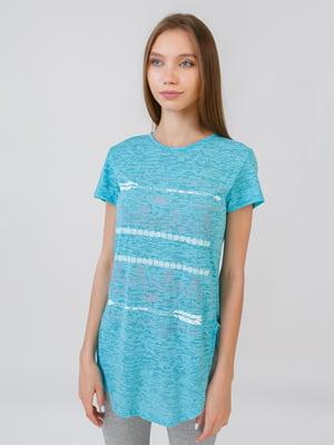 Блуза бірюзового кольору з принтом | 5510856