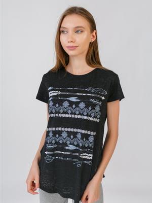 Блуза черная с принтом | 5510855