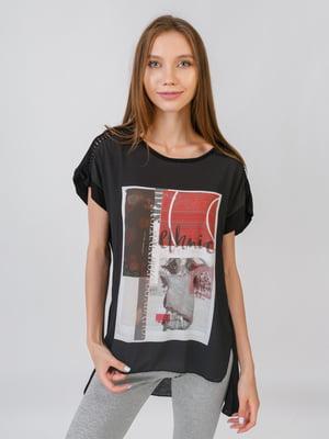 Блуза черная с принтом   5510850