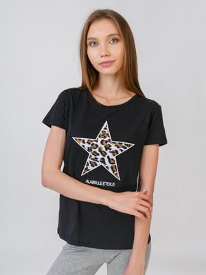 Блуза чорна з принтом | 5510868